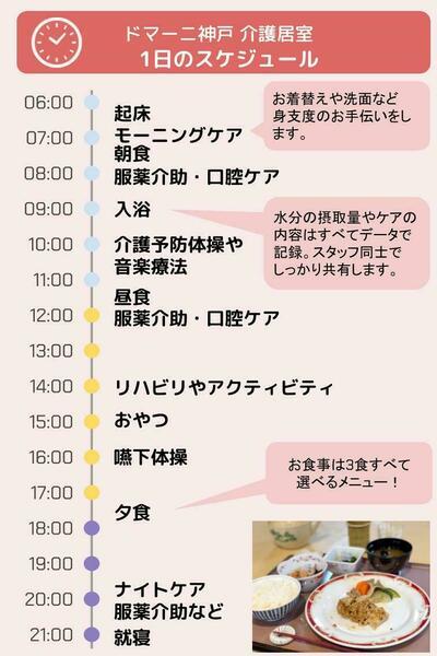 ドマーニ神戸 介護居室 1日のスケジュール