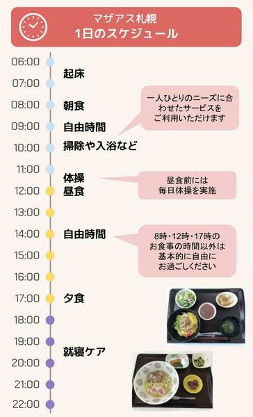 マザアス札幌 1日のスケジュール
